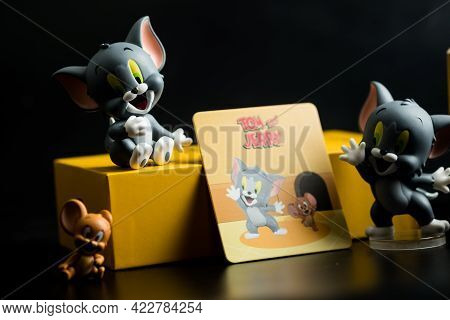 Samut Prakan, Thailand - June 5, 2021 : Cute Figurine Of New Limited Edition Blind Box, Tom And Jerr