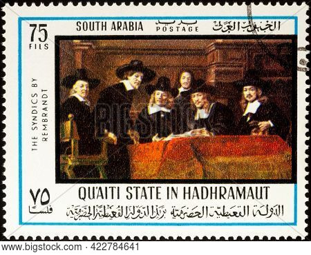 Moscow, Russia - May 23, 2021: Stamp Printed In Qu'aiti State In Hadhramaut Shows Painting The Couns