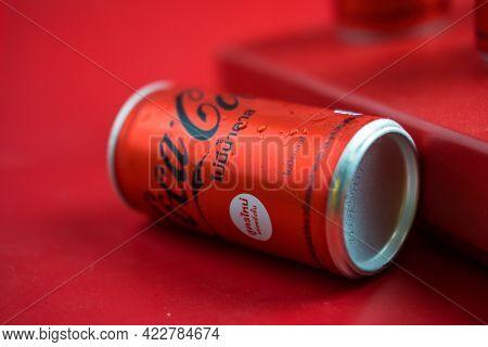 Bangkok, Thailand - June 5, 2021 : The New Formula Of Aluminium Mini Can, Coca-cola No Sugar(180ml.)