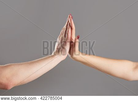 Man And Girl Giving High Five. Two Hands, Male And Female. High-five Gesture And Tenderness Of Frien