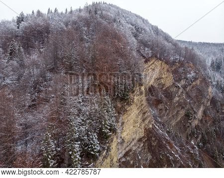 Wonderful Landscapes Of The Carpathian Mountains Covered With Snow At Cloudy Day In Ukraine Near The