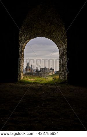 Kamianets-podilskyi, Ukraine. View From The Stone Fortress Arch On The Castle Bridge To Kamianets-po