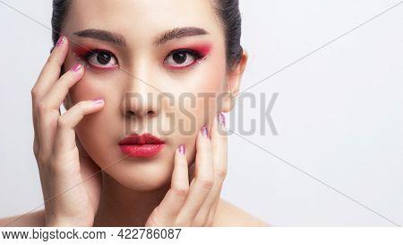 Asian Woman Closeup Perfect Makeup On Her Face. Eyelash Extensions. Makeup, Cosmetics, Beautiful Cos