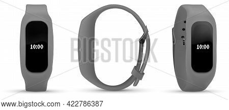 Fitness Tracker Sport Bracelet With Screen. Black Fitness Bracelet Or Smart Watch, Time And Pulse On