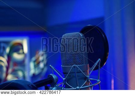 Professional Singing Mic In Recording Studio Room For Song Recording.