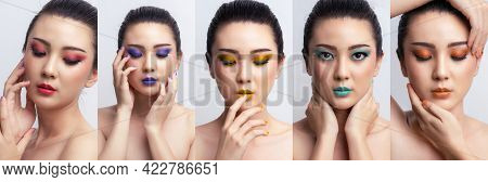 Banner Asian Woman Colorful Makeup Collage. Fashion Cosmetics Makeup. Makeup Eyeshadow With Extreme
