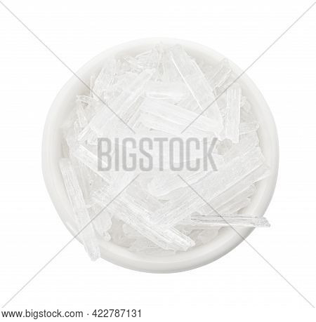 Menthol Crystals In Bowl On White Background, Top View