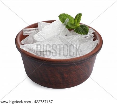 Menthol Crystals And Mint Leaves On White Background