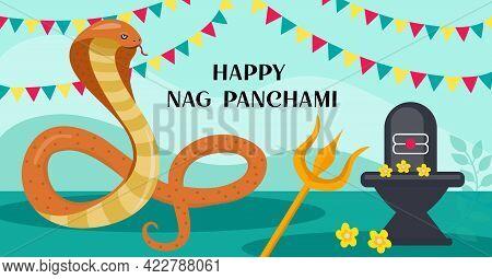 Happy Nag Panchami Greeting Card With King Cobra. Snake Festival In India. Vector Illustration