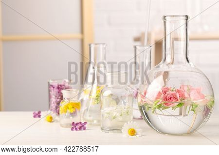 Laboratory Glassware With Flowers On White Wooden Table. Extracting Essential Oil For Perfumery And