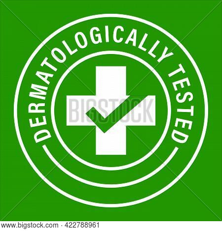 Dermatologically Tested Vector Icon, Health Care Vector Icon With Cross And Tick Mark