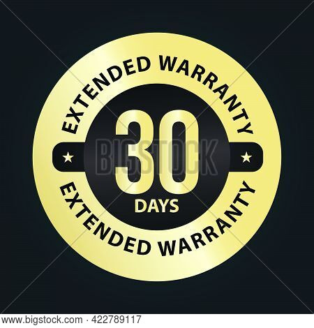 Extended Warranty Abstract '30 Days Extended Warranty' Vector Symbol, Golden Premium Vector Stamp