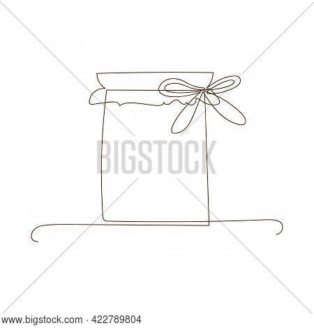 Simple Line Art Glass Canning Jar. Preserved Food, Jar For Jam, For Honey, Autumn And Winter Preserv