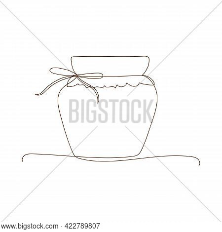 Preserved Food, Jar For Jam, For Honey, Autumn And Winter Preservation. Simple Line Art Glass Cannin
