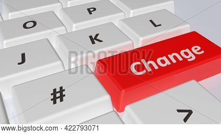Red Key Of A Computer Keyboard, With The Write Change - 3d Rendering Illustration