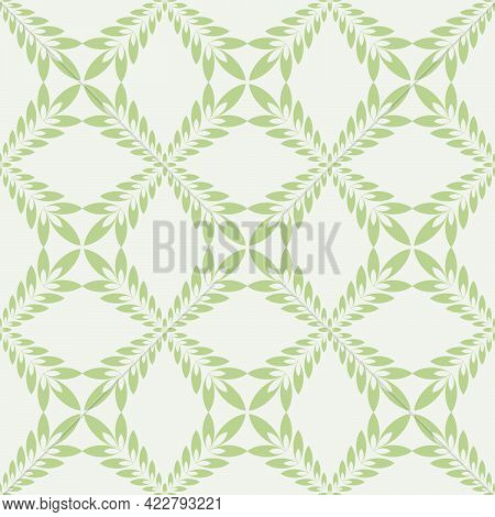 Seamless Background In The Form Of A Pattern In Light Green Tones Of Leaves Forming A Mesh Pattern F
