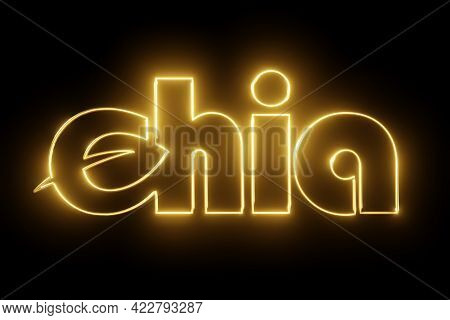 Gold Shiny Chia Coin Logo On Black Background. Chia Eco Crypto Currency. 3d Rendering