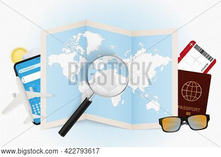 Travel Destination Algeria, Tourism Mockup With Travel Equipment And World Map With Magnifying Glass