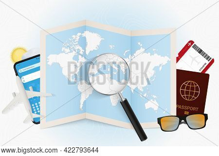 Travel Destination Tunisia, Tourism Mockup With Travel Equipment And World Map With Magnifying Glass