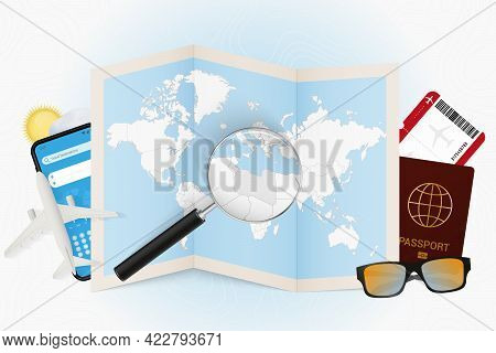 Travel Destination Libya, Tourism Mockup With Travel Equipment And World Map With Magnifying Glass O