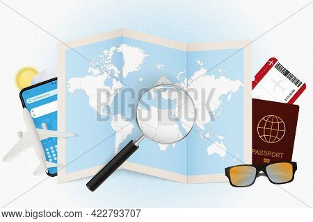 Travel Destination Egypt, Tourism Mockup With Travel Equipment And World Map With Magnifying Glass O