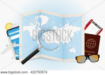 Travel Destination Ivory Coast, Tourism Mockup With Travel Equipment And World Map With Magnifying G