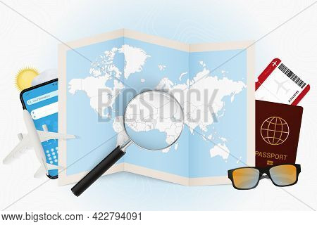 Travel Destination Benin, Tourism Mockup With Travel Equipment And World Map With Magnifying Glass O