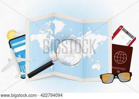 Travel Destination Niger, Tourism Mockup With Travel Equipment And World Map With Magnifying Glass O