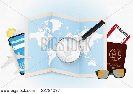 Travel Destination Chad, Tourism Mockup With Travel Equipment And World Map With Magnifying Glass On