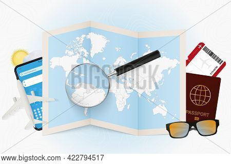 Travel Destination Venezuela, Tourism Mockup With Travel Equipment And World Map With Magnifying Gla