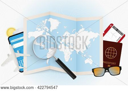 Travel Destination Costa Rica, Tourism Mockup With Travel Equipment And World Map With Magnifying Gl