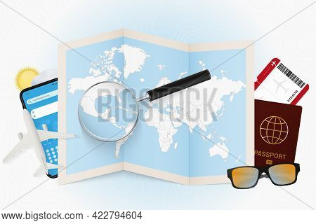 Travel Destination Belize, Tourism Mockup With Travel Equipment And World Map With Magnifying Glass