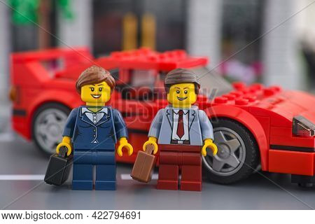 Tambov, Russian Federation - June 04, 2021 Lego Businessman And Businesswoman Minifigures Standing N