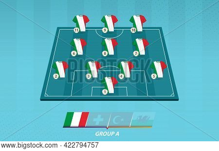 Football Field With Italy Team Lineup For European Competition. Soccer Players On Half Football Fiel