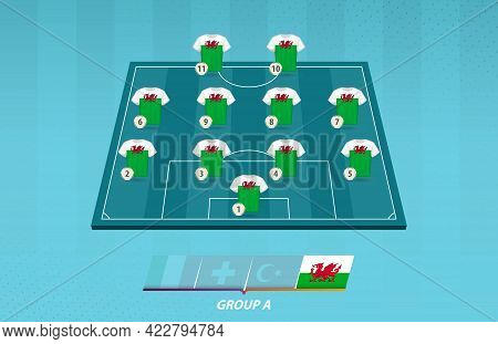 Football Field With Wales Team Lineup For European Competition. Soccer Players On Half Football Fiel