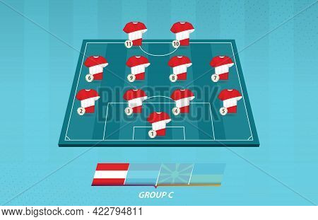 Football Field With Austria Team Lineup For European Competition. Soccer Players On Half Football Fi