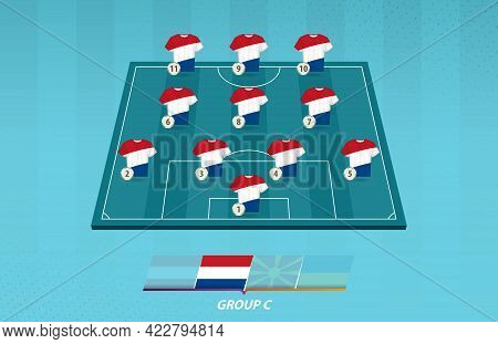 Football Field With Netherlands Team Lineup For European Competition. Soccer Players On Half Footbal