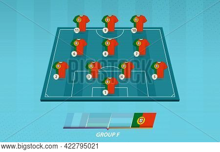 Football Field With Portugal Team Lineup For European Competition. Soccer Players On Half Football F