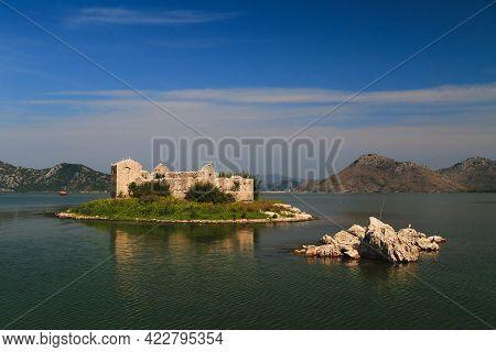 A Close Up View At Grmozur Fortress Ruin, Former Prison At The Island Grmozur In Lake Skadar Nationa