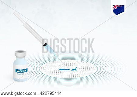 Covid-19 Vaccination In New Zealand, Coronavirus Vaccination Illustration With Vaccine Bottle And Sy