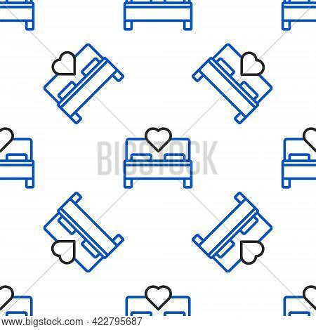 Line Bedroom Icon Isolated Seamless Pattern On White Background. Wedding, Love, Marriage Symbol. Bed