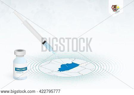 Covid-19 Vaccination In Illinois, Coronavirus Vaccination Illustration With Vaccine Bottle And Syrin