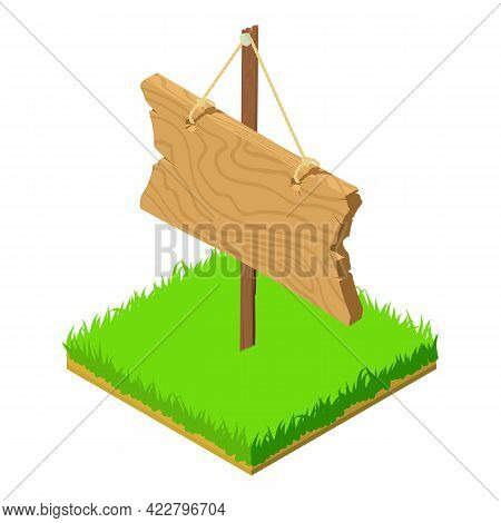 Wooden Roadsign Icon. Isometric Illustration Of Wooden Roadsign Vector Icon For Web