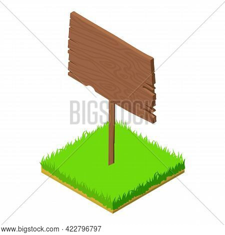Old Signboard Icon. Isometric Illustration Of Old Signboard Vector Icon For Web