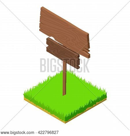 Wood Signboard Icon. Isometric Illustration Of Wood Signboard Vector Icon For Web