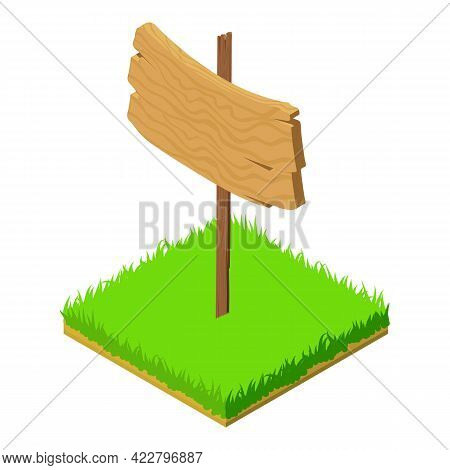 Wooden Plaque Icon. Isometric Illustration Of Wooden Plaque Vector Icon For Web
