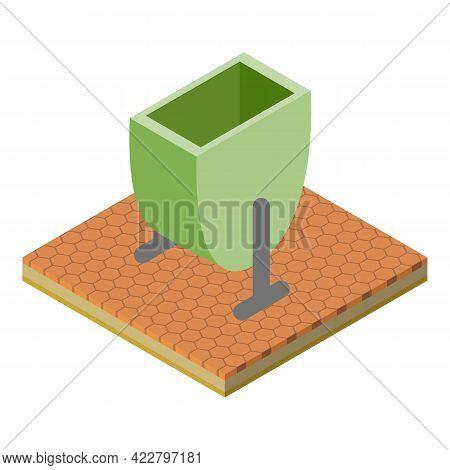 Rubbish Bin Icon. Isometric Illustration Of Rubbish Bin Vector Icon For Web