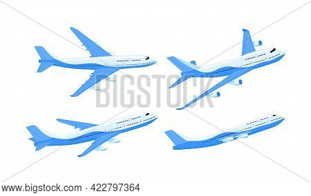The Plane Is Passenger. Different Types. Set. Airplane Flight Forward In The Air. Passenger Transpor