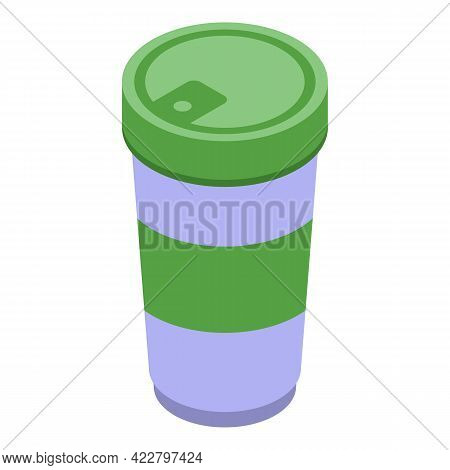 Coffee Thermo Cup Icon. Isometric Of Coffee Thermo Cup Vector Icon For Web Design Isolated On White