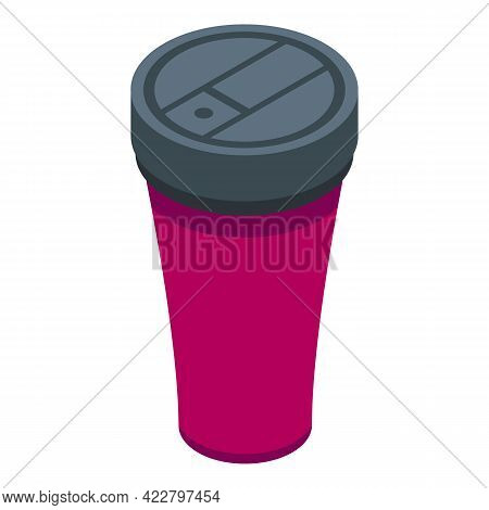 Aluminium Thermo Cup Icon. Isometric Of Aluminium Thermo Cup Vector Icon For Web Design Isolated On
